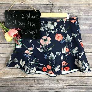 Zara Woman navy floral hi low mini skirt